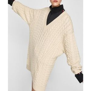 Zara Knit Chunky Cable Oversized Pullover Sweater